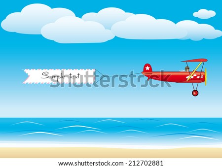 Red plane with banner - stock vector