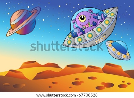 Red planet with flying saucers - vector illustration. - stock vector