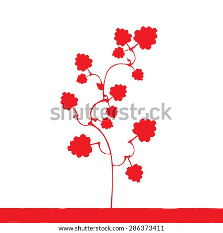 red plant vector silhouette - stock vector
