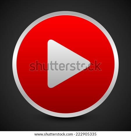 Red play button over dark backdrop - stock vector
