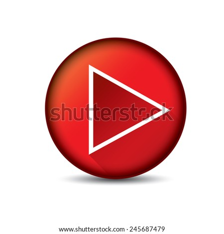 red Play button. vector illustration