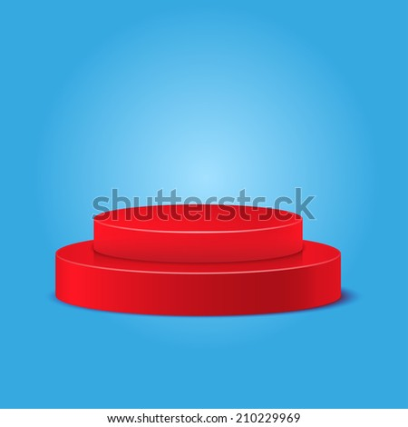 red podium on a blue background - stock vector