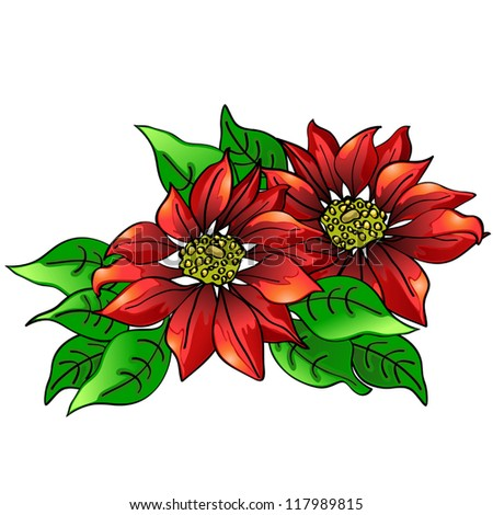 Red poinsettia - stock vector
