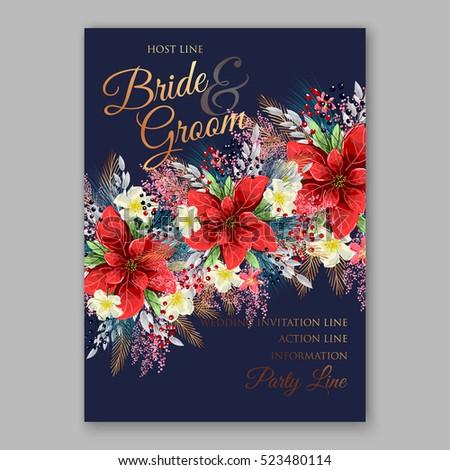 Red Poinsettia Wedding Invitation Sample Card Stock Vector 523480114