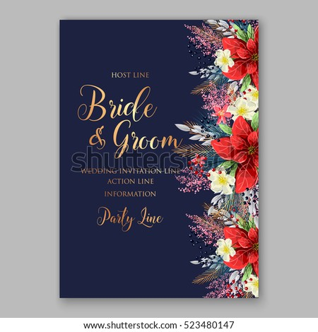 Red poinsettia wedding invitation sample card stock vector 523480147 red poinsettia wedding invitation sample card beautiful winter floral ornament with gold wording stopboris Image collections