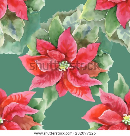 Red Poinsettia with Green Leaves seamless pattern on green background, vector illustration - stock vector
