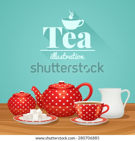Red polka dot tea pottery set with teapot cup saucer vector illustration - stock vector
