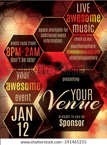 Red polygon themed flyer template layout for a night club event - stock vector