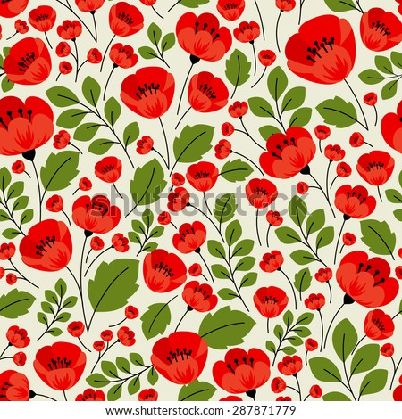 Red poppies seamless pattern in retro style with poppy flowers, lush petals and muted green foliage on beige background for textile or interior design - stock vector