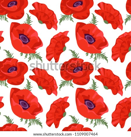 red poppy flower seamless pattern on stock vector 1109007464