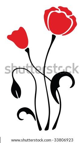 red poppy flower silhouette, pattern, vector illustration - stock vector