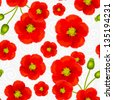 Red poppy flowers vector seamless pattern - stock vector
