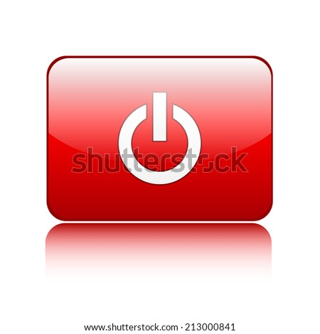 Red power glossy button sign on white - stock vector