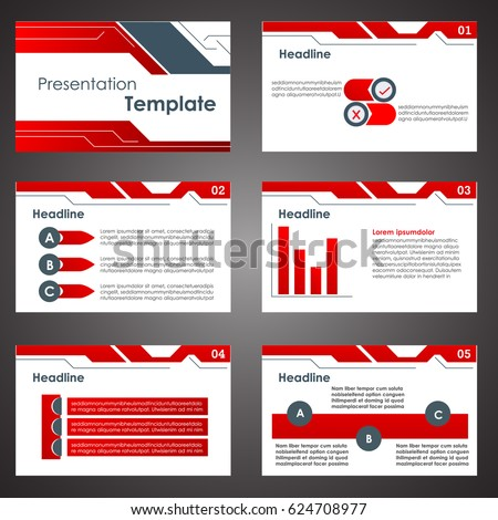 red presentation templates infographic elements flat stock vector, Presentation templates