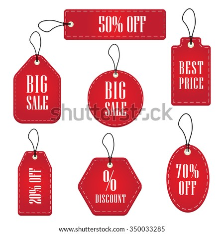 Red Price Sale Tags Stickers Set - stock vector