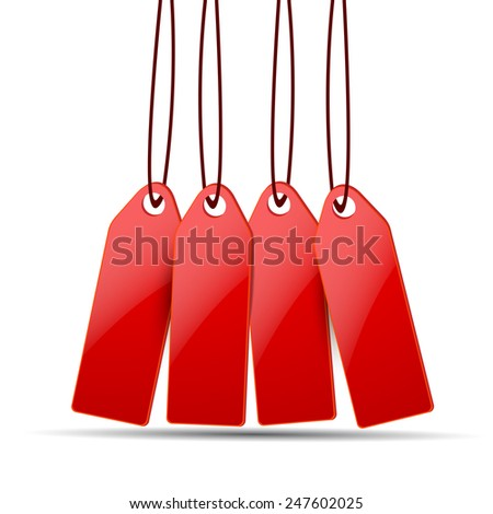 Red price tags on white