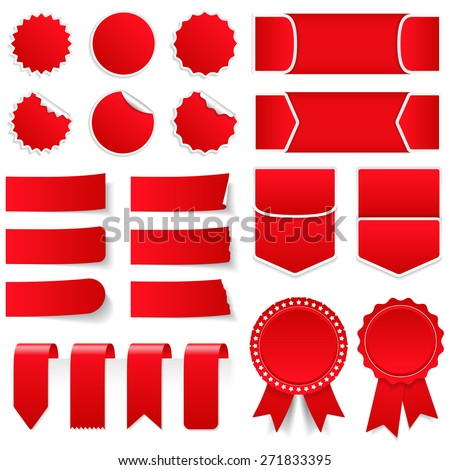 Red price tags, stickers, labels, banners and ribbons, vector eps10 illustration - stock vector