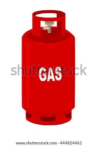 Red propane gas cylinder.  - stock vector
