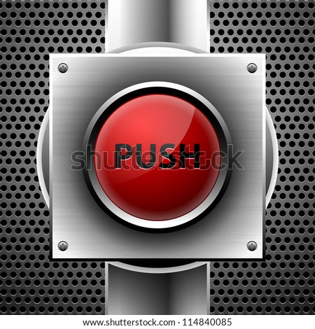 red push button. eps10 - stock vector