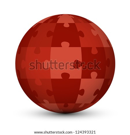 red puzzle globe. puzzle concept. - stock vector