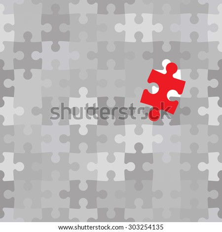 Red puzzle piece different from another grey ones - stock vector