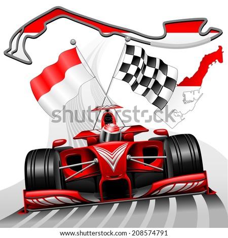 Red Race Car GP Monaco - stock vector