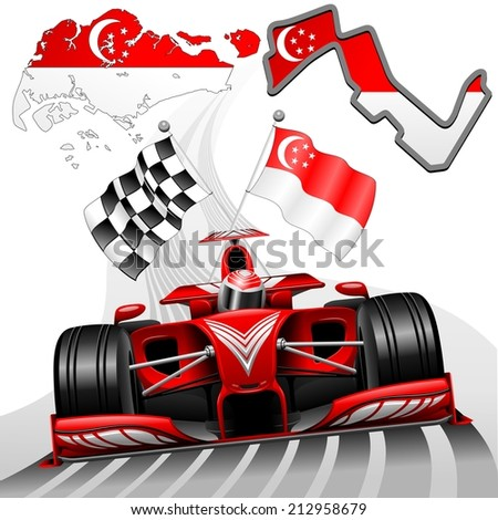 Red Race Car GP Singapore - stock vector