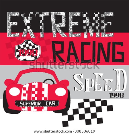 red race car, T-shirt design vector illustration - stock vector