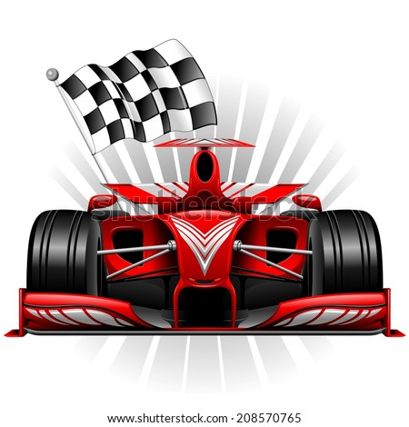 Red Race Car with Checkered Flag - stock vector