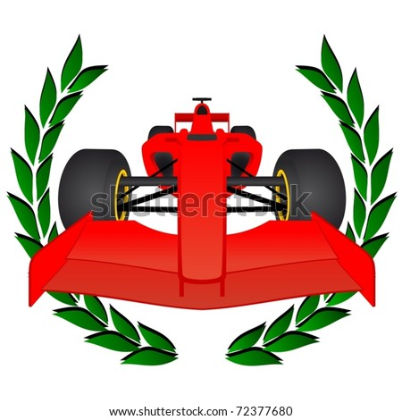 Red racing car with a laurel wreath - stock vector