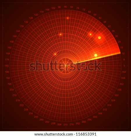 Red radar screen. Vector illustration for your design. - stock vector