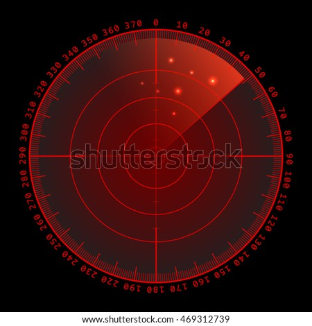 Red radar screen with targets in process ,dynamic illustration . Conceptual design of military radar screen. Vector illustration .