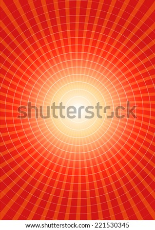Red radial vector background with circles - stock vector