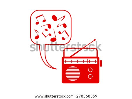Red radio icon on white background - stock vector