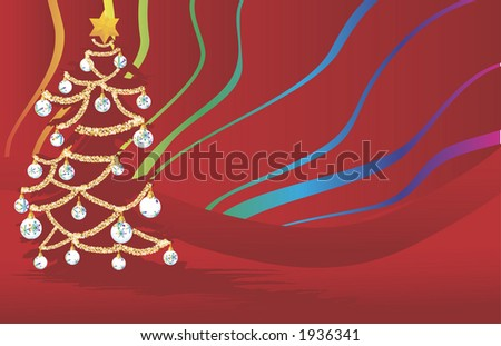 Red Rainbow Christmas decorations illustrated with a Christmas tree with a rainbow background.
