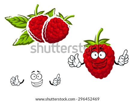 Red raspberry fruit character  in cartoon style with lush green sepals on the top and joyful smile, suitable for agriculture or natural food - stock vector