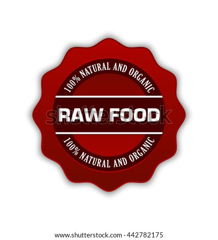 Red raw food badge on white background
