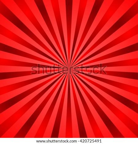 Red rays poster. Popular ray star burst background television vintage. Retro art design. Sun glow bright pattern Vector Illustration - stock vector