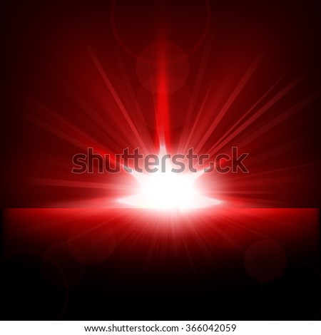 Red Rays rising from horizon - stock vector