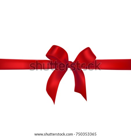 Red Realistic Bow with Ribbons. Vector Illustration of Holiday Decoration