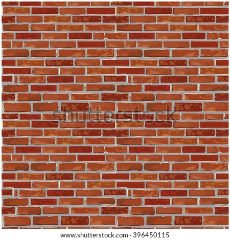 Red realistic brick wall seamless Vector illustration background - texture pattern for continuous looping replicate. Solid and flat color design. - stock vector
