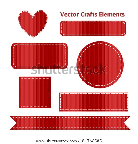 Red Realistic Craft Grosgrain Set, Vector Illustration - stock vector
