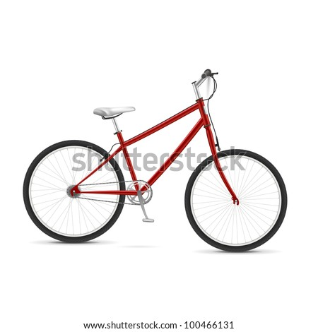 Red realistic vector bicycle Isolated over white - stock vector