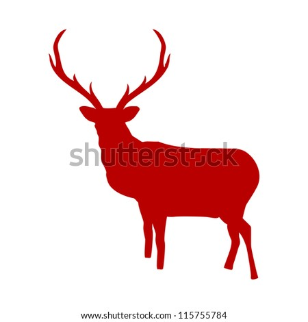 Red reindeer isolated on white background. And also includes EPS 8 vector