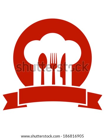 red restaurant icon with ribbon chef hat and utensil - stock vector