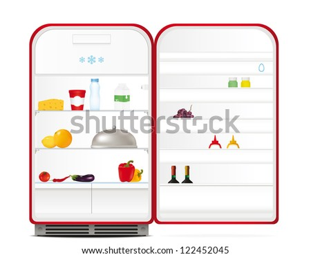 Red retro fridge with food and drinks. Vector illustration - stock vector