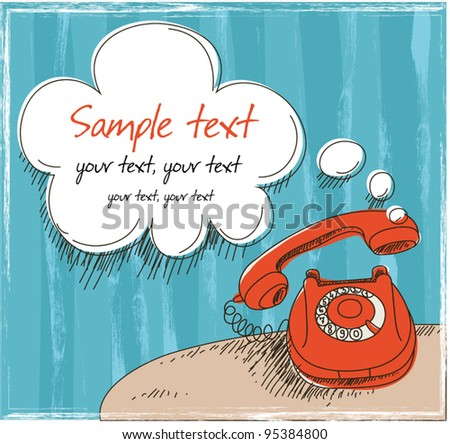 Red retro phone - stock vector