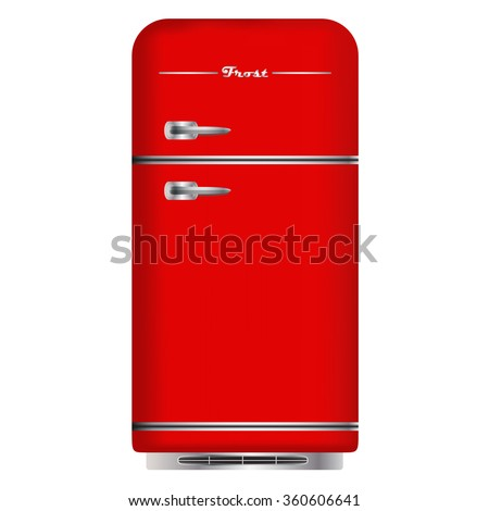 Red retro refrigerator. Home appliances. Isolated on white background. Vector Image. - stock vector