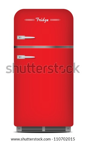 Red retro refrigerator. isolated on white - stock vector