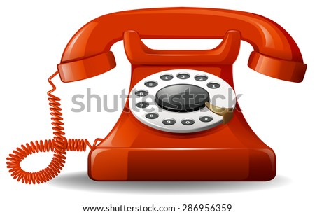 Red retro style telephone on a white background